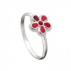 Kinderring Blume rot Silber...
