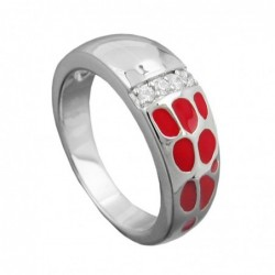 Ring, rot, mit Zirkonias,...
