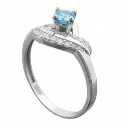 Ring, Zirkonias aqua/weiß,...