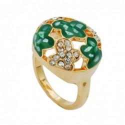 Ring, grün mit Glassteinen,...